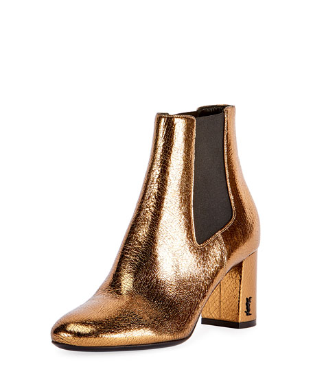 Saint Laurent LouLou Metallic Ankle Boot, Bronze