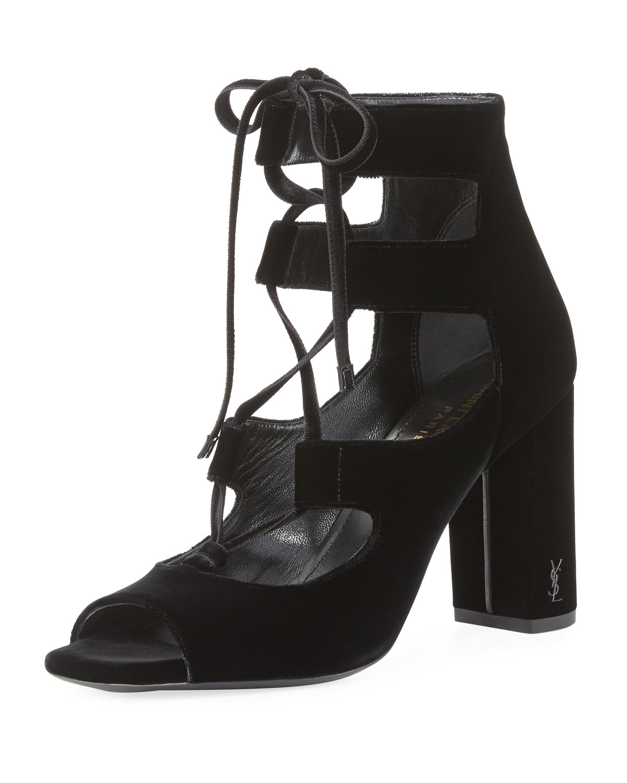 33a6492235a Saint Laurent Loulou Velvet Lace-Up Sandal