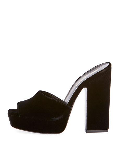 6db54d5e9f6 Saint Laurent Debbie Velvet Platform Slide Sandal, Black | Neiman Marcus