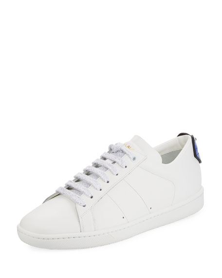 White & Blue Court Classic Sl/01 Lips Sneakers