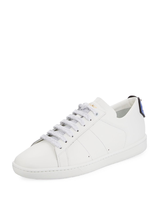55ab784815e9 Saint Laurent Court Classic Lips Leather Low-Top Sneakers | Neiman ...