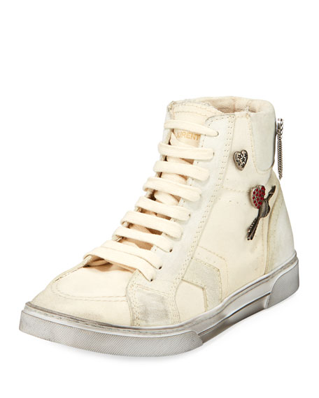 Saint Laurent Antibe Distressed High-Top Sneakers