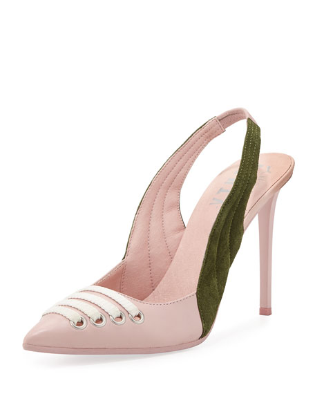 Fenty Puma by Rihanna Lace-Up Leather Slingback Pump,