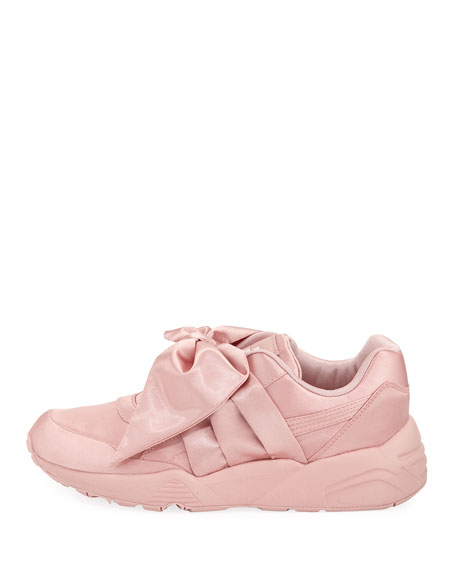 Trinomic Knotted Bow Satin Sneaker, Silverpink