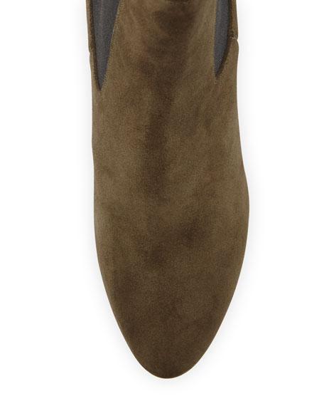 Vika Suede Platform Ankle Boots, Olive