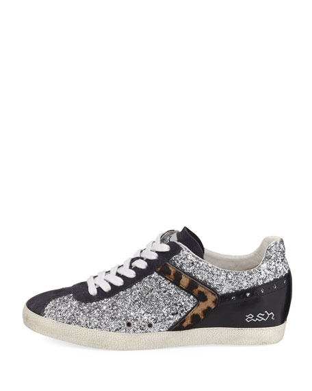 Glittered Fur-Trim Low-Top Sneaker, Silver