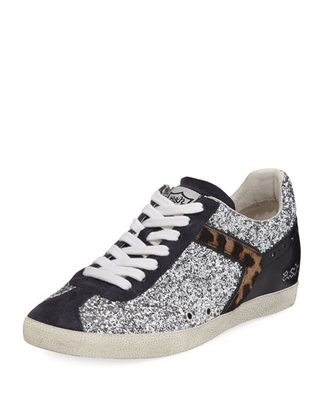 Ash Glittered Fur-Trim Low-Top Sneaker, Silver