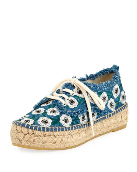 Loeffler Randall Alfie Floral Lace-Up Espadrille Sneaker