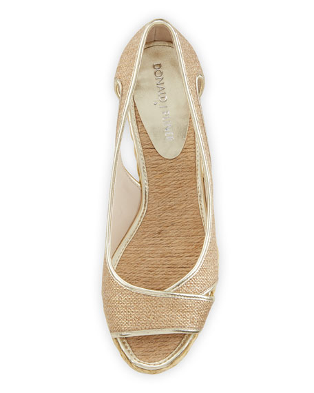 Coraa Metallic Wedge Espadrille Sandal, Gold