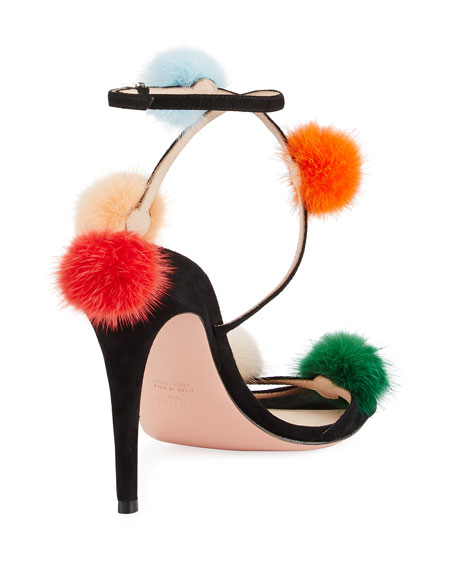 Suede Ankle-Wrap Sandal w/Mink Fur Pompoms