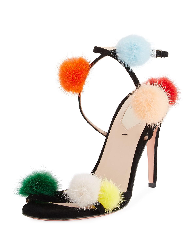 7003fc899df Fendi Suede Ankle-Wrap Sandal w Mink Fur Pompoms