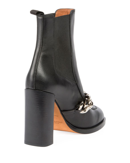 Chain Leather Chelsea Booties, Black