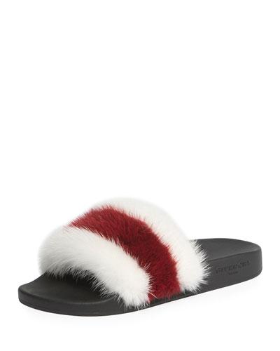 Striped Mink Fur Pool Slide Sandal, White/Red