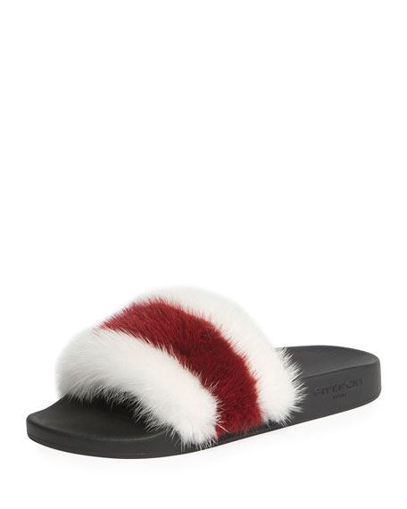 Striped Mink Fur Pool Slide Sandal, White/Red