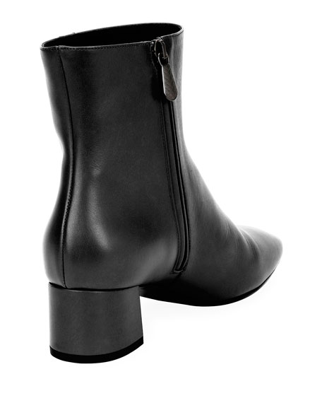 Intrecciato-Trim Leather Ankle Boot