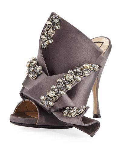 Jeweled Satin 100mm Mule Sandal, Taupe