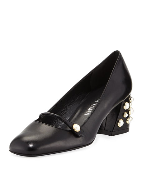 Stuart Weitzman Pearlstrap Embellished Mary Jane Pump, Black