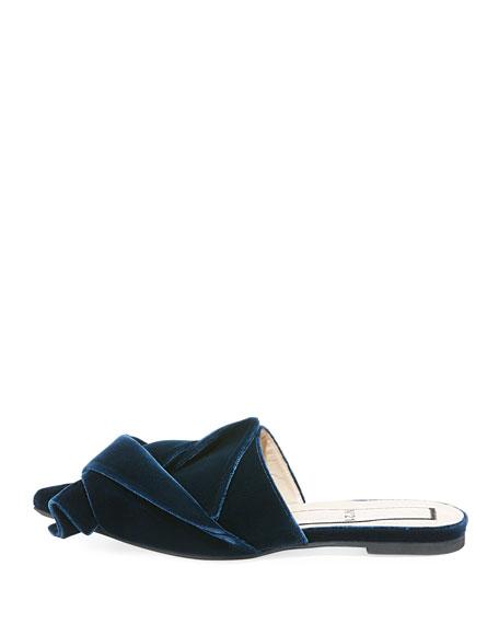 Velvet Knotted Flat Sandal, Oceano