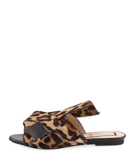 Knot Calf Hair Flat Slide Sandals, Camel Leopard