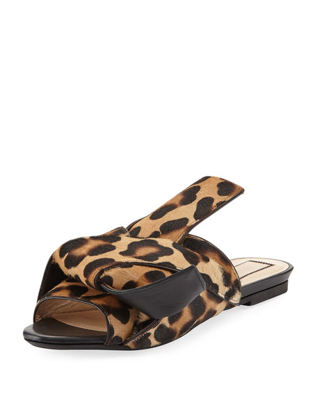 KNOT CALF HAIR FLAT SLIDE SANDALS, CAMEL LEOPARD