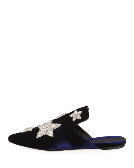 Stelle Metallic Star Velvet Slipper, Blue Marine