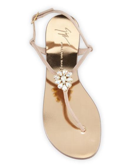 Crystal-Embellished Flat Thong Sandal