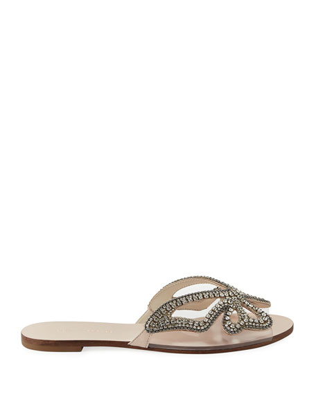 Madame Crystal Butterfly Flat Slide Sandal, Nude