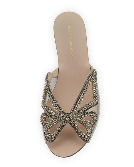 Madame Crystal Butterfly Flat Slide Sandal, Nude