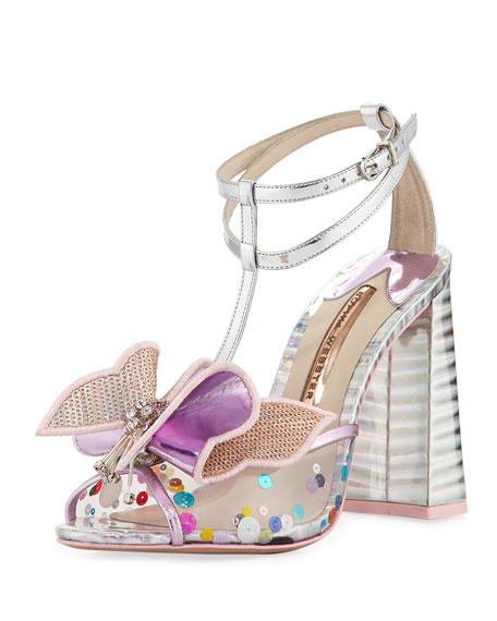 Sophia Webster Lana Mesh Butterfly Block-Heel Sandal, Pink