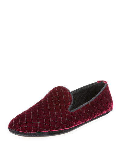 Intrecciato Quilted Velvet Smoking Slipper, Maroon
