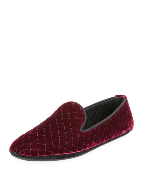 Bottega Veneta Intrecciato Quilted Velvet Smoking Slipper, Maroon