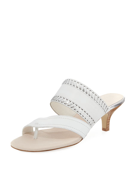 Donald J Pliner Ruge Whipstitch Kitten-Heel Slide Sandal,