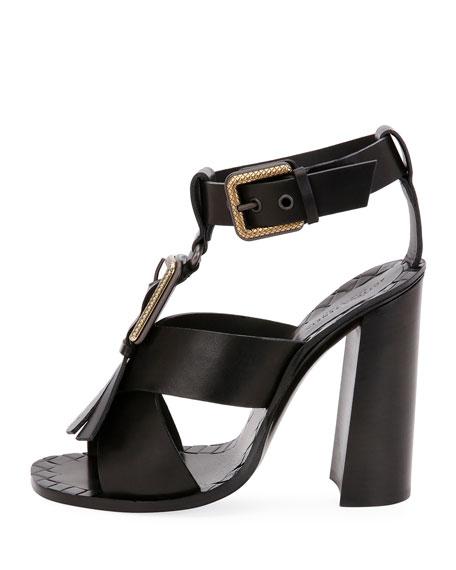 Fringe Buckle T-Strap Block-Heel Sandals, Black