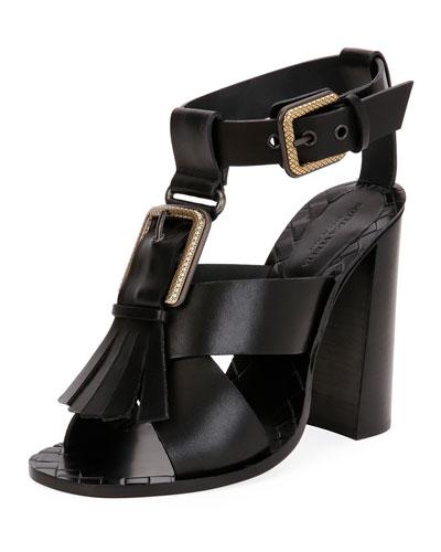 Fringe Buckle T-Strap Block-Heel Sandal, Black