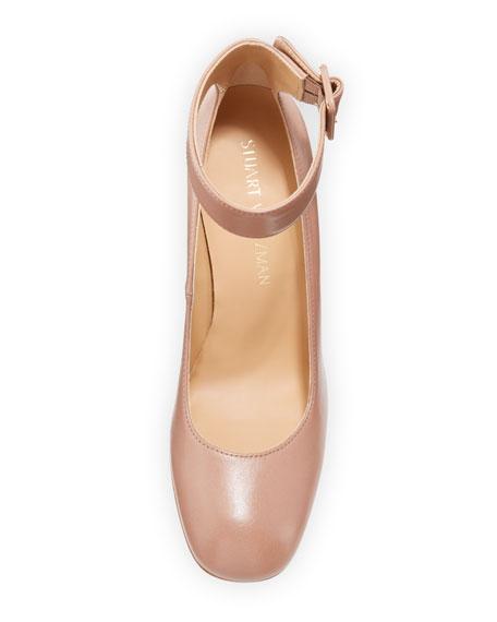 Clarisa Ankle-Strap Block-Heel Pumps, Mouse