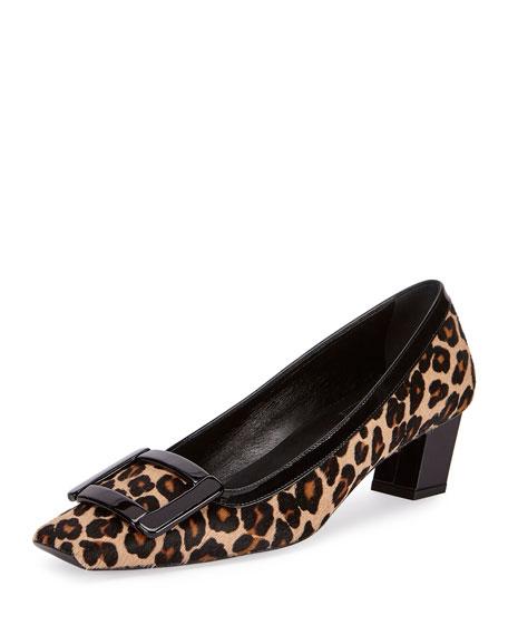 Roger Vivier Decbelle Viv Low-Heel Pump, Leopard