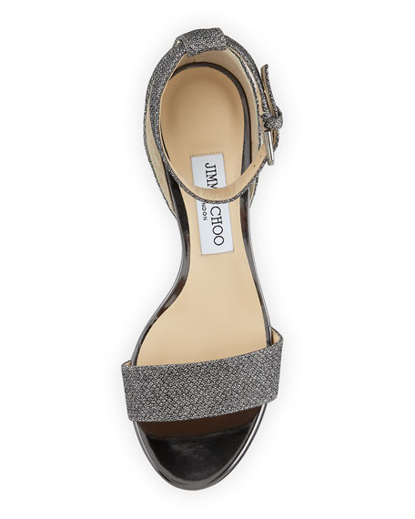 Edina Metallic Fabric Sandals, Gray