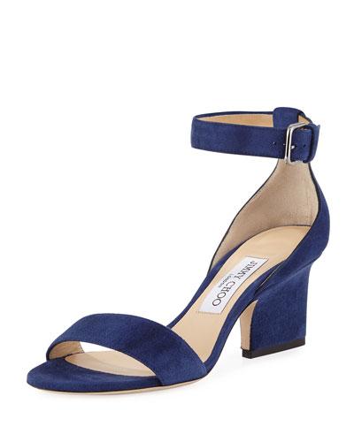 Edina Suede Sandal, Blue