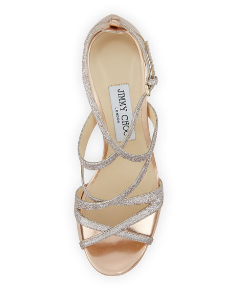 Marianne Strappy 100mm Sandals, Gold