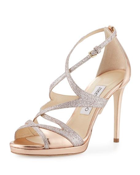 Jimmy Choo Marianne Strappy 100mm Sandal, Gold