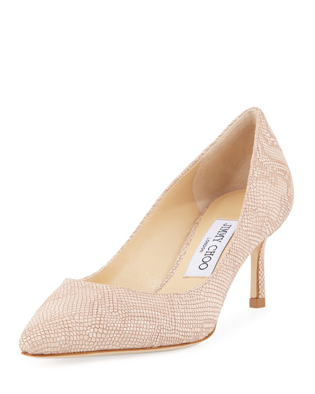 Jimmy Choo Romy Metallic Embossed Pump, Nude