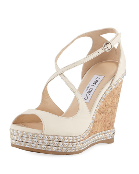 Jimmy Choo Dakota Wedge Espadrille Sandal, Off White