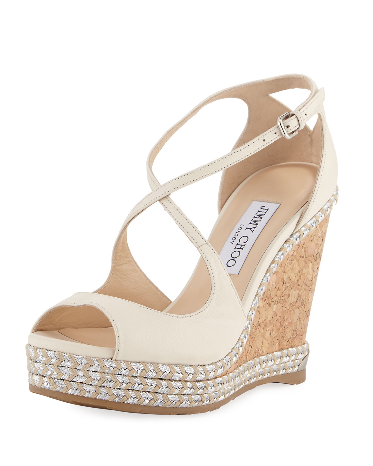Jimmy Choo Dakota Wedge Espadrille Sandals Off White