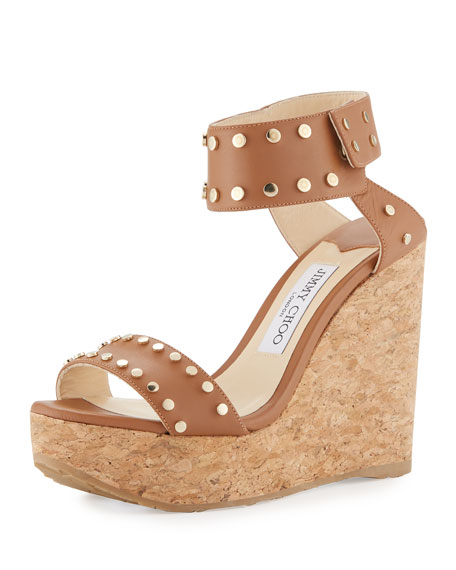 Jimmy Choo Nelly Studded Cork Wedge Sandal, Brown