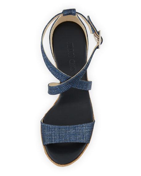 Portia Denim Platform Wedge Sandal, Navy