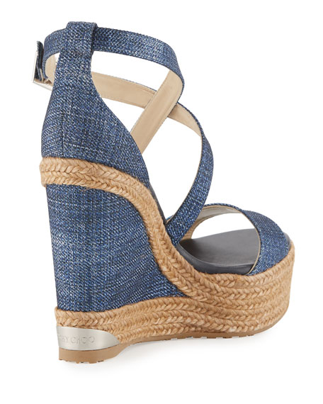 Portia Denim Platform Wedge Sandal, Navy