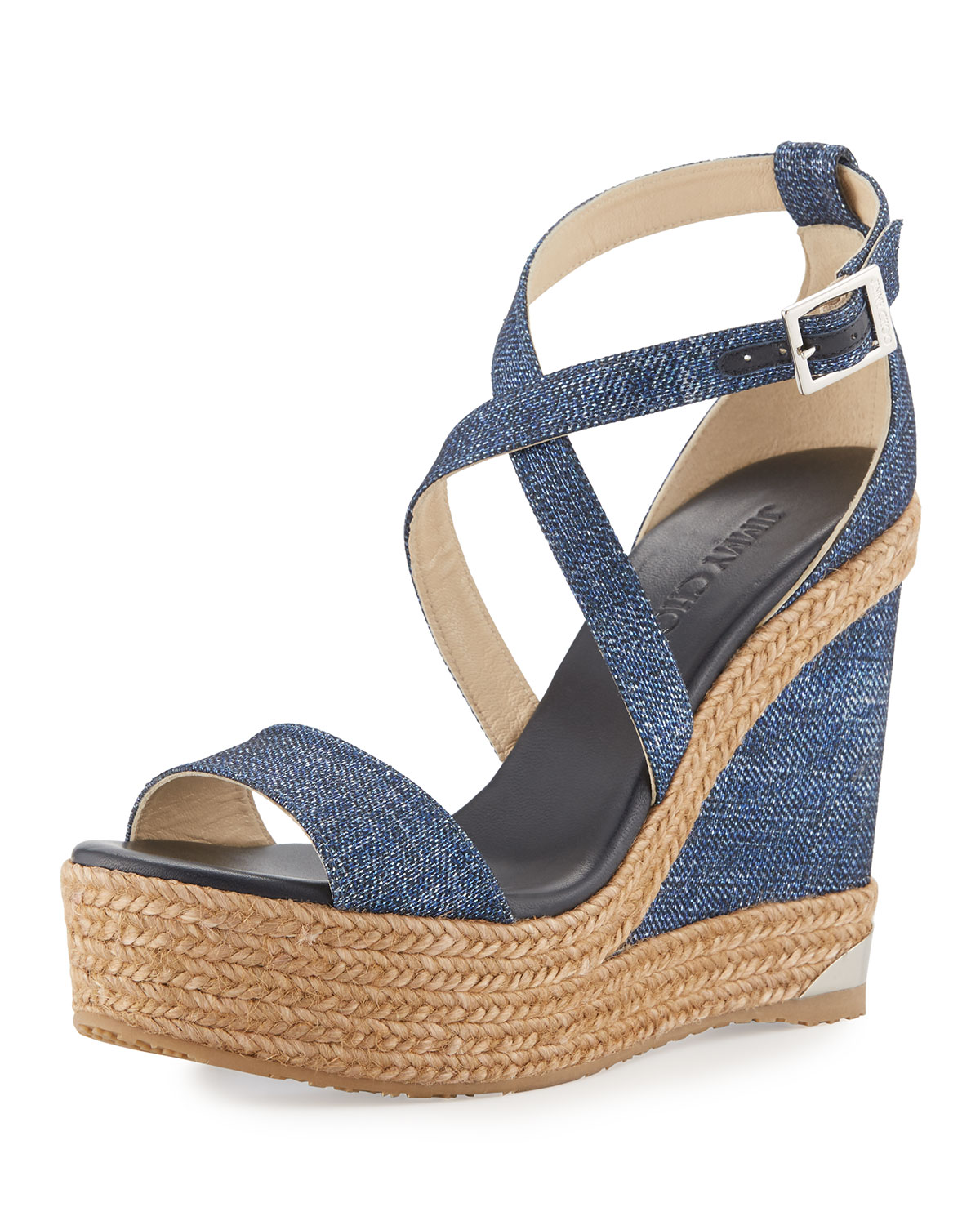 a6db761b6e0d Jimmy Choo Portia Denim Platform Wedge Sandals