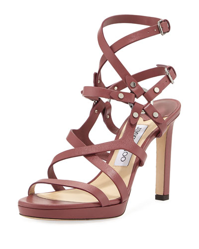 Monica Studded 100mm Sandal, Light Red