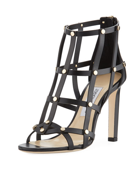 Tina Studded Leather Cage Sandal, Black