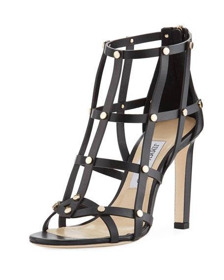 Jimmy Choo Leather Cage Sandals sale pre order low shipping sale online 7gTsKPk